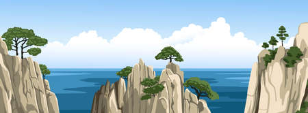 Chinese rocks with a trees on top. Ocean landscape, seascape with mountains in water and fluffy clouds in blue sky. Vector flat illustration.