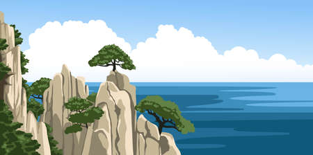 Beautiful summer seascape view with rocks, trees, blue sky, fluffy clouds, sea foam. Ocean panoramic view. Hand-drawn colorful vector illustration. Ilustração