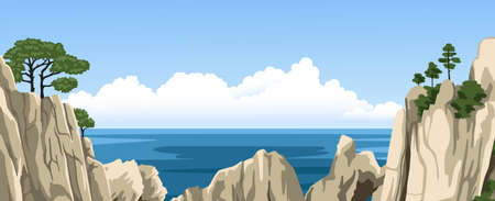 Panorama landscape of mountains and sea. Ocean view. Rocks with a trees on top. Vector hand-drawn illustration.