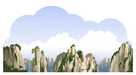 Chinese mountains landscape with big clouds. Asian nature. Realistic hand-drawn vector illustration. Travel to China.