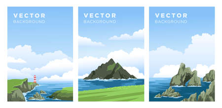Set of realistic seascapes with cloudy sky. Irish coast view, lighthouse, rocks, cliffs. Vertical banner, book cover, vector background, flat hand-drawn illustrations.