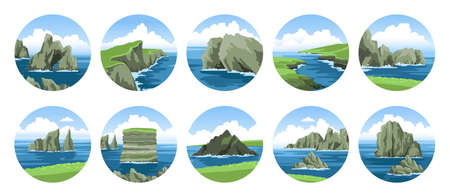 Big collection of simple hand-drawn vector illustrations with sea and rocks, cliffs, stones, coasts, sea capes. Ocean and sea nature landscape with fluffy clouds. Scenic view.