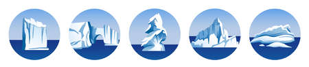 Set of round vector illustrations with icebergs, glaciers, blocks of ice, ice floe isolated, snow mountains. Arctic, Antarctic and North Pole scenic view. Collection of cartoon vector illustrations. Ilustracje wektorowe