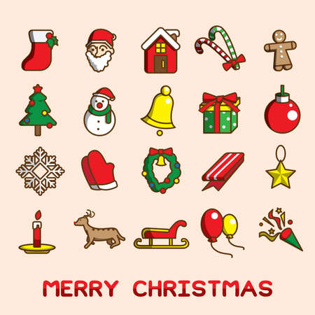 Set of christmas icons, Symbol of decorate graphic, Flat vector illustration. Illusztráció