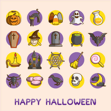 Set of halloween party icon, Cute vector illustration.