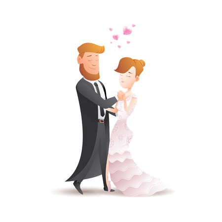 Cute romantic couples on date, Couple mate with slow step ballroom dance, Vector flat illustration isolated on the white background, character for banner, flyer design.