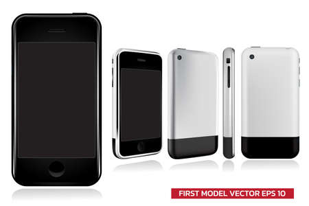 First Generation of model smartphone in different view (front, side, back), Mock up realistic vector illustration on white background.