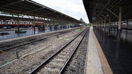Bangkok Patumwan /Thailand August/8/2020, Railroad in the train station Reklamní fotografie