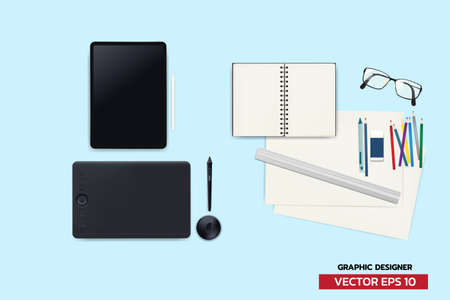 Graphic designer equipment analog and digital device. Creator with device to create anything, realistic vector illustration on blue.