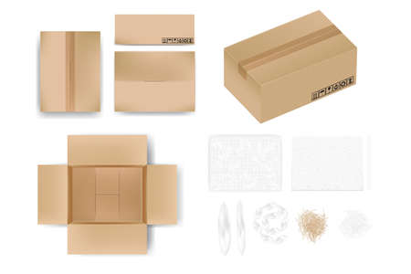 Mockup carton box in different view with tape or opened view. Material as wrap, foam sheet, paper cushion, air cushion bag, realistic vector illustration on white.