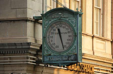 Manhattan, New York City, New York - June 10 2009. Broken thermometer on Broadway and Chambers Street in summer heat.