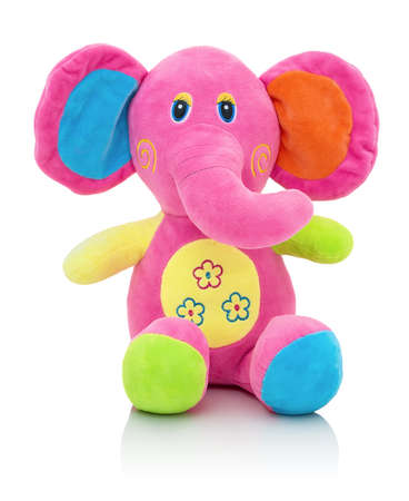 Elephant plushie doll isolated on white background with shadow reflection. Elephant plush stuffed puppet on white backdrop. Jumbo plushie toy. Rainbow colored stuffed elephant toy. Pinky elephant.
