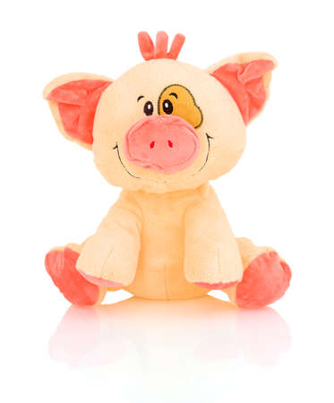 Pig plushie doll isolated on white background with shadow reflection. Pink hog stuffed puppet isolated on white backdrop.