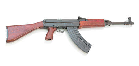 Czechoslovakian assault rifle isolated on white background with shadow reflection. Caliber 7.62×39mm. Stock Photo