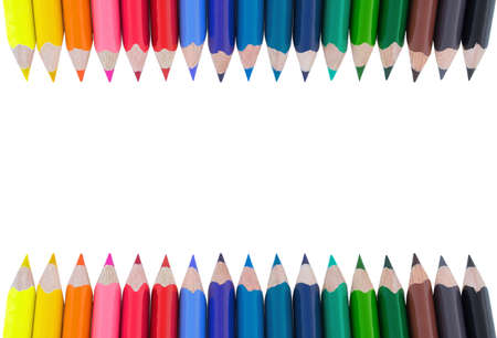Color pencils isolated on white background. Soft trendy pastel colors, close up. Colored crayons. 版權商用圖片