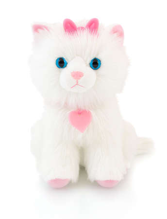 Cat plushie doll isolated on white background with shadow reflection. Cat plush stuffed puppet on white backdrop.