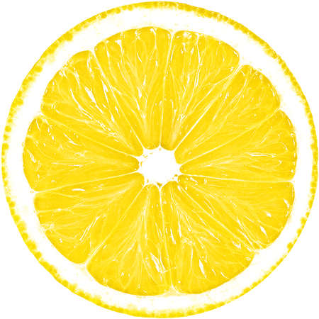 Juicy yellow slice of lemon isolated. The perfect circle of sliced lemon. Citrus fruit.