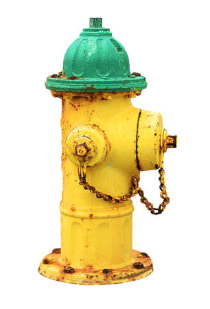 Yellow green old rusty american fire hydrant isolated on white background.  Yellow and green hydrant water. 版權商用圖片