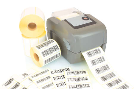 White label rolls, printed barcodes and printer isolated on white background with shadow reflection. White reels of labels with printer. Labels for direct thermal or thermal transfer printing. Imagens