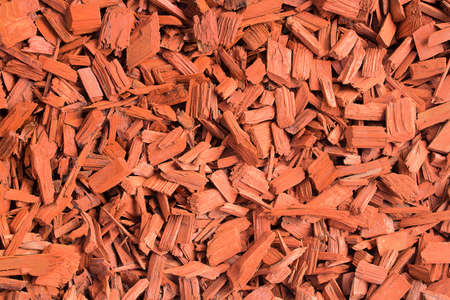 Red wood chips. Natural texture background of red wooden pieces of tree bark. Wood chips, mulch for gardening or natural themes. Full filled frame picture. Landscaping red colored materials.Above view 版權商用圖片