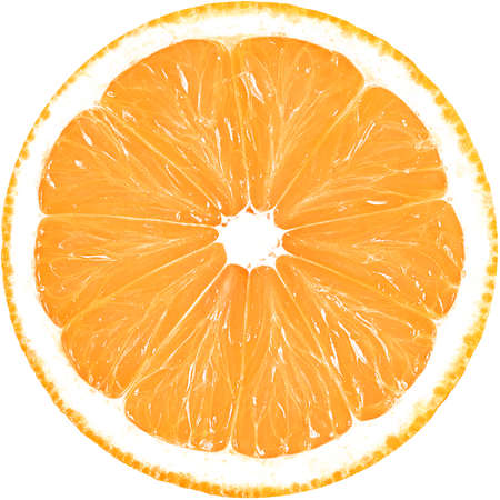 Juicy slice of orange isolated on a white background with clipping path. The perfect circle of sliced orange. Citrus fruit.