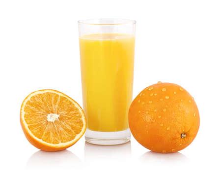Glass of orange juice with fresh shiny orange slice isolated on white background with shadow reflection and  .