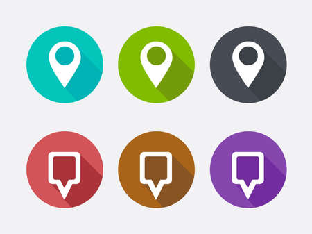 label circular: Map Pointer Icon. Location marker symbol. Long shadows.