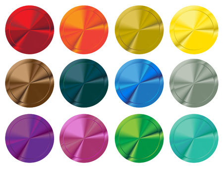 shiny buttons: Colorful set of shiny blank buttons. Vector illustration. Illustration