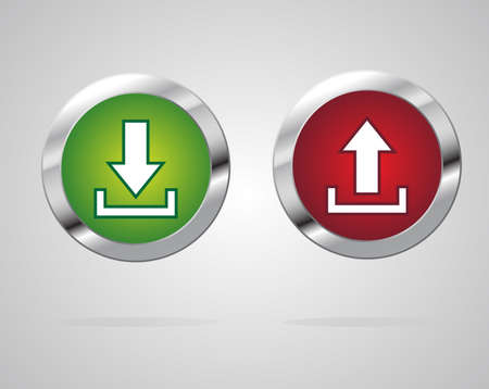 shiny button: Download Upload shiny button. Data transfer icons. Vector illustration.