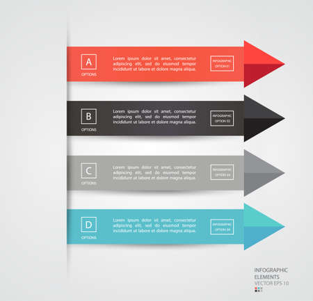 infochart: Arrow infographics elements. Can be used for workflow layout, diagram, number options, step up options, web template, infographics. Vector illustration.