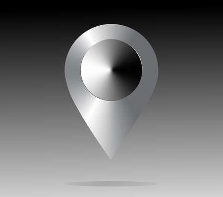 shiny metal: Shiny metal location icon. Map Pointer, grey. Vector illustration Illustration