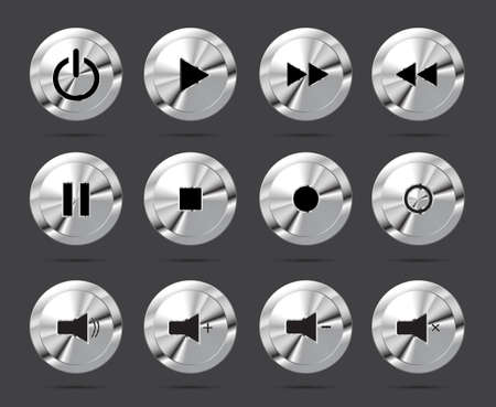 shiny buttons: Polished shiny metal buttons with music media symbols. Vector illustration.