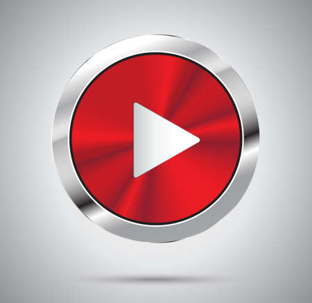 red metal: Shiny red metal Play button, round shape Illustration