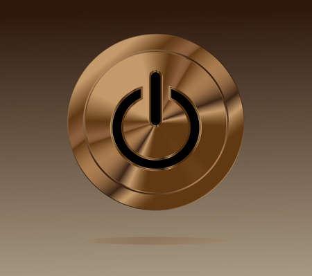 Shiny brown power metal button Vector