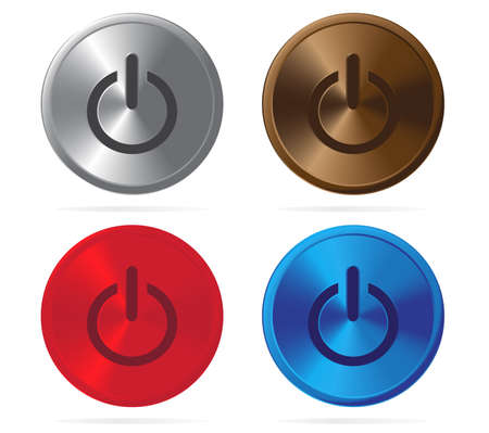 shiny buttons: Set of shiny metal power buttons Illustration