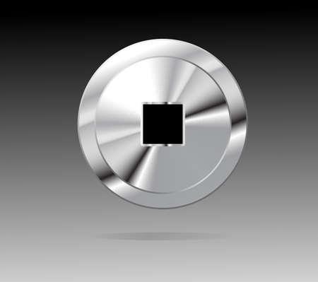 shiny metal: Stop Button. Shiny Metal