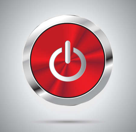 red metal: Shiny red metal Power button, round shape. Vector illustration.