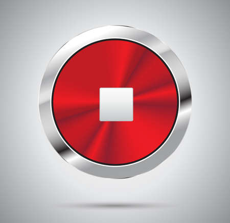 red metal: Shiny red metal Stop Button, round shape. Vector illustration.