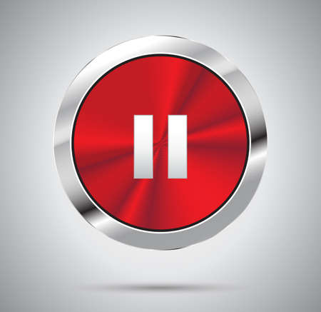 red metal: Shiny red metal media Pause Button, round shape. Vector illustration.