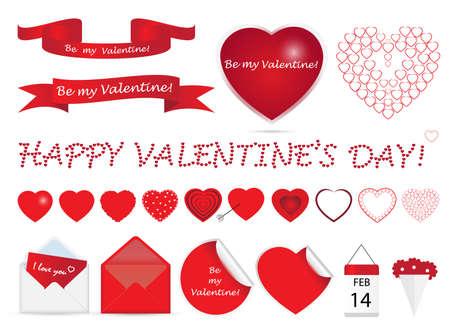 Set of Valentine elements. Vector illustration. Vector