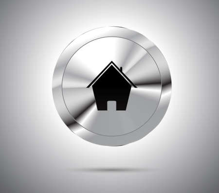 metallic button: Shiny metallic button with house icon. Vector Illustration.