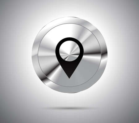 metallic button: Shiny metallic button with location icon symbol. Vector illustration. Illustration