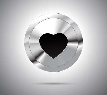 metallic button: Shiny metallic button with black heart. Vector illustration. Illustration
