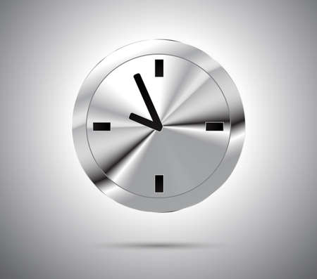 metallic button: Shiny metallic button with clock. Vector illustration.