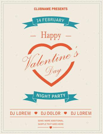 nightclub flyer: Happy Valentines Day Retro Party flyer invitation. Vector illustration.