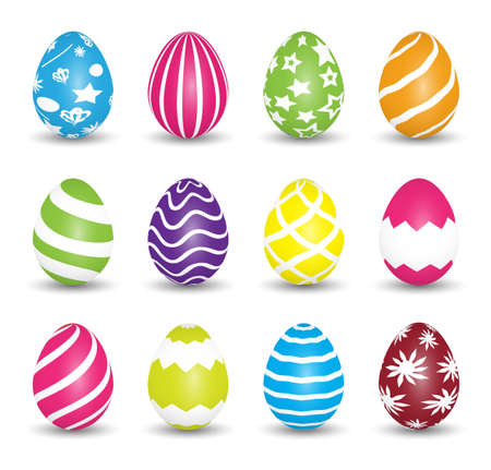 easter sunday: Set of colorful Easter Eggs isolated on white background