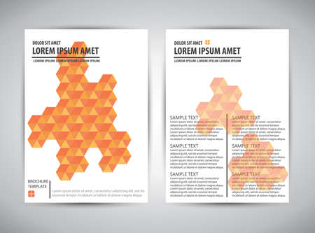 page layout: Brochure, catalog, cover, page layout template. Orange pixel design on white background. Vector illustration.