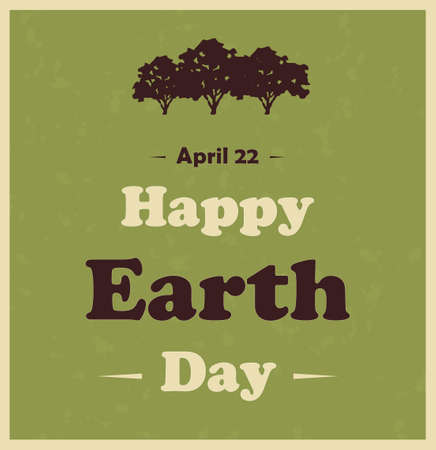 Happy Earth Day poster with tree. Vector illustration. Vector