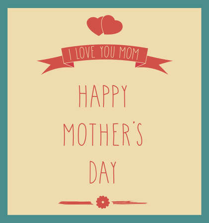 love mom: Happy Mothers Day card. Hand Drawn letters. Vector illustration