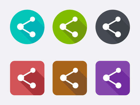long recovery: Share icons with long shadows. Vector illustration.
